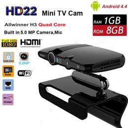 Mini cámaras wi fi en Línea-DHL libre HD23 Allwinner H3 cámara de la base 1GB 8GB 5.0MP cámara Android TV 1080P Smart Mini PC Skype teléfono de vídeo con salida HDMI Wi-Fi HD22