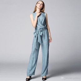 Wholesale Simple new summer high end brand fashionable OL temperament slim fit show thin copper ammonia silk jumpsuit