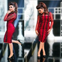 Sardi Arabia Red Lace Evening Dresses with Long Illusion Sleeves Sexy Black Appliques Knee Length Prom Dress Middle East Style