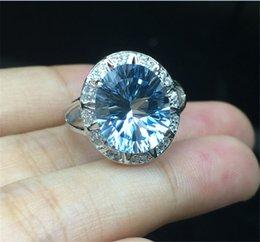 Descuento piedras preciosas conjunto de plata de ley Prong de lujo que fija los anillos naturales de las piedras preciosas del topaz para las mujeres Tamaño 9 * 11m m de la muchacha Plata esterlina S925 con los anillos de oro blanco 18k