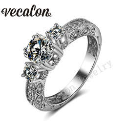 Vecalon Antique Jewelry Three-stone Simulated diamond Cz 14KT White Gold Filled Engagement Wedding band Ring for Women Sz 5-11