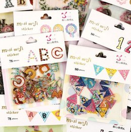 Wholesale Color digital alphabet sticker pack bag hot selling decoration packing stickers Kawaii sticker dandys