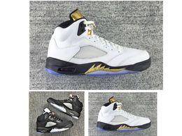Gold Medal 5 Retro V mens basketball shoes sneaker for sale discount cheap prices women Retros 5s White gold black metallic sliver