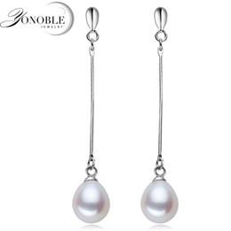 Wholesale-Real 925 sterling silver pearl earrings freshwater long pearl earrings for women natural pearl earring drop girlfriend gift