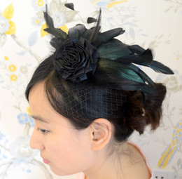 Natural Black Bridal Feather Fascinator with Silk Flower and Veil Wedding Feather Headpiece Bridal Feather Hair Accessory IRISF003