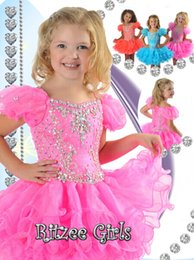 New 2016 Spring Sweet Pink Short Cupcake Dresses Crystal Beading Mosaic Girl's Pageant Dresses Birthday Party Toddler Dresses