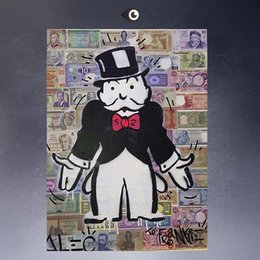 Wholesale High Quality genuine Hand Painted Wall Decor Alec monopoly Pop Art Oil Painting On Canvas GALLERY ART