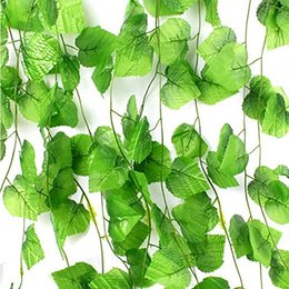 Freeshipping 12pcs set Artificial Plants Grape Leaves Vines Fake Plant Grass for Wedding Party Home Decoration Gift Graft DIY Hanging