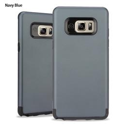 Protection téléphone cellulaire en Ligne-Bleu marine Protection Double Cas de téléphone portable pour Samsung Note 7 S7 S6 Bord plus Tpu + PC antichoc Anti-chute Hard Case Cell Phone