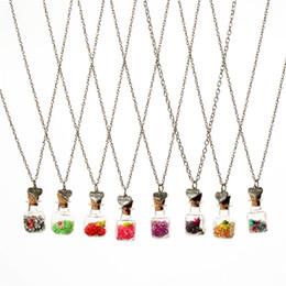 Wholesale Crystal diamond dry flower drift wishing bottle heart pendants Necklaces for women lover gemini necklace DIY jewelry Christmas gift
