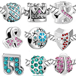 Wholesale Cube Letter Beads Red - Wholesale 2016 winter silver charms with Crystal DIY Big Hole Loose Beads Fits European 3MM chain Bracelet Jewelry Free shipping DHL