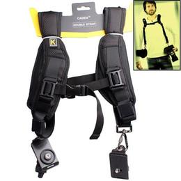 Bolsas de honda de la cámara en venta-Caden Negro suave doble rápida honda de la cámara del cuello de la correa de hombro del bolso del caso de la correa para todas las cámaras DSLR SLR