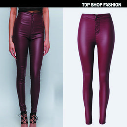 Wholesale The new arrival europe and the United States Qiu dongkuan big waisted skinny leather pants feet imitation wear red wine locomotive