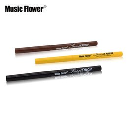Wholesale-Super Eyeliner Pen Brand Music Flower 3 Color Makeup Black Brown Light Brown Eye Liner Pencil 24H Waterproof Smooth Soft Make Up