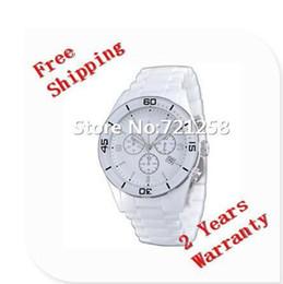 Cerámica blanca reloj de pulsera en Línea-Envío libre del hk _Absolute lujo nuevo AR1424 1424 hombres Reloj blanco del cronógrafo de los relojes del reloj de los caballeros + caja original