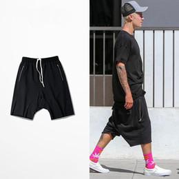 Wholesale-M-XXXL FEAR OF GOD KANYE loose shorts off gear burr zipper short pants