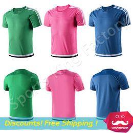 Descuento camisetas de fútbol de color rosa Club del balompié Jersey en blanco de la marca 2017 El entrenamiento del fútbol usa los deportes del club del fútbol usa la fuente impresa personalizada rosa verde azul