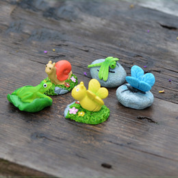 5pcs Animal Stone Bee Snail Figurines Fairy Garden Miniatures House Decor Resin Crafts Terrarium Baison Tools Home Accessories