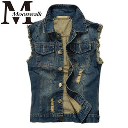 Wholesale Cow Boy Jackets - 12 Style Men's Sleeveless Lapel Denim Vest Jacket Hip hop cow boy waistcat patchwork fashion Slim Fit high quality plus size