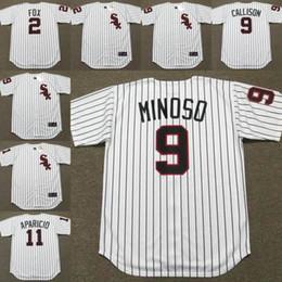 Wholesale Men NELLIE FOX JOHNNY CALLISON MINNIE MINOSO LUIS APARICIO Chicago White Sox s Majestic Cooperstown Baseball Jersey stitched