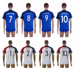 2016 Euro Cup #10 BENZEMA Home Blue Away White Soccer Jersey Top Quality Soccer Shirts Discount Cheap Mens Football Shirts Custom Jerseys