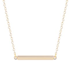 Wholesale 10pcs New Style K Gold Tiny Bar Necklace Simple Square Bar Necklace Choker Neclaces for Women Floating Locket