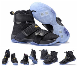 Wholesale 2016 Top Quality Lebron Soldiers Men s Basketball Shoes With Carbon Fiber LBJ X James Black Gold Sneakers Size