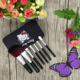 Wholesale Hello Kitty componen cepillos cosméticos del maquillaje cepilla el kit Electrodomésticos Kit de hierro del caso del artículo de tocador de belleza lindo Mini caso sentó rosa y negro