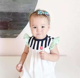 Wholesale INS summer new children ruffle fly sleeve doll dress shirt baby girls cotton stripe dress toddler kids princess dress tops T A8640