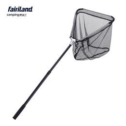Fairiland 1.3m 40*40cm aluminum folding fishing landing net fishing net brailer telescopic pole PE net fishing landing tools fish gear