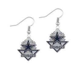 Wholesale Dallas Cowboys Flag Drop Oil Earrings Sports Drip Earrings For Fan New Fashion Drop Earrings European American Jewelry Accessories