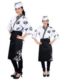 Korean Japanese restaurant chef uniform waiter work clothes . the Japanese cuisine unisex overalls in summer