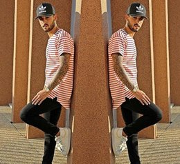 Hipster Overlong Red Black Striped T shirt Men or women hiphop swag extended Lengthen Tee shirt Top