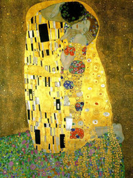 Wholesale Genuine Handpainted Gustav Klimt Art Oil Painting On High Quality Canvas The Kiss in custom size chosen