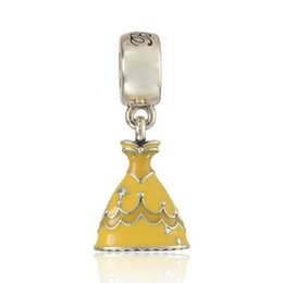 Wholesale Yellow Enamel Princess Belle Dress Charms Sterling Silver Pendants Fits Necklace Bracelet DIY Fine Jewelry PD559