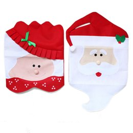 Wholesale 2016 New Fashion Santa Clause Cap Red Hat Furniture Chair Back Cover Christmas Dinner Table Party Xmas New Year Decoration