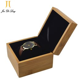 Wholesale New Customized Bamboo Grid Watch Box Black Flannel Pillow Watch Display Show Box Durable Recollection Wristwatch Case