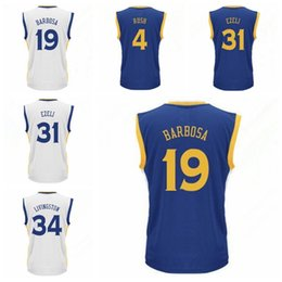 Wholesale Best Printed Leandro Barbosa Jerseys Uniforms Men Festus Ezeli Shirt Shaun Livingston Brandon Rush Home Blue White