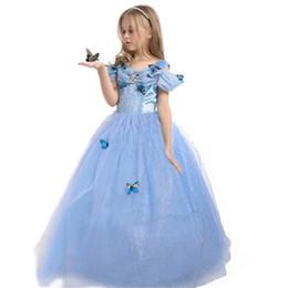 Princess Party Costume Dress Kids Children Girls Maxi Dress Blue Butterfly Girl Dresses Holloween Christmas Cosplay