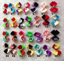 Hot selling double color ribbon bow Dog hair headdress pet bow accessories 50pcs CF220