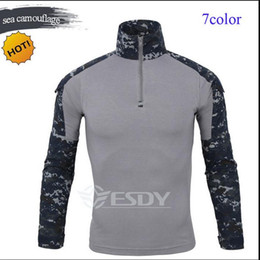 Wholesale Outdoor Camouflage Long Sleeve Frog Suit Men Sport Tops Tactical Tool Cargo t Shirt Army Military Combat Tee 7 Color