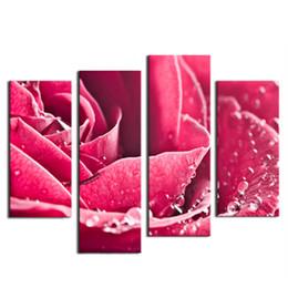 Скидка большие отпечатки на холсте 4 фото Сочетание Art Large Top Quality Canvas HD Жикле печати розовые великолепные розы Картина современного дома украшения стены искусства