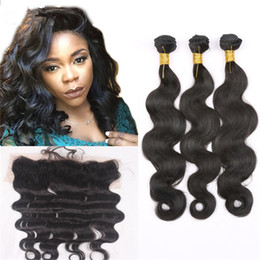 Raw Human Hair Weave Malaysian Hair With Lace Frontal Free Middle Three Part Natural Color Body Wave Human Hair With Lace Frontal 7A