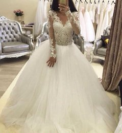 Wedding dresses 2016 v neck v back lace dresses beads wash Ball Gown Wedding Dress Lace Long Sleeve Lace Sexy Bridal Gowns