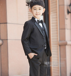 2015 New Fashion Kids Boy Suit Black Boy Wedding Suit Formal Baby Boy Blazer Suit 5-Piece F 1018