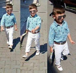 Free shipping 2016 New Style Boys clothing sets Boy Lattice Shirt + Pants + Leather Belt Children sports set Boy Summer Spring Sets