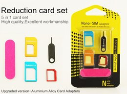 5 in 1 Nano Sim Card Adapters Regular Micro Sim Standard SIM Card Tools With Colorful For iPhone 5s se 6 6s plus