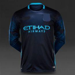 Wholesale Thai quality FC Manchester away long sleeve jersey new kits AGUERO SILVA football Club soccer jersey man custom shirt set suit