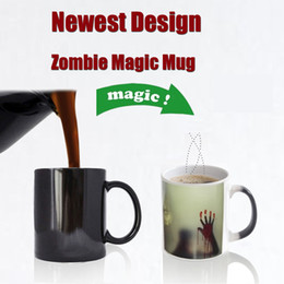 Newest Design Zombie Color Changing Coffee Mug Heat sensitive Tea cup Printing with walking dead bloody hands
