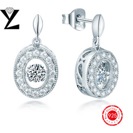 Dancing Diamond Rhodium Plated Sterling Silver Oval Shape Dangle Earrings with CZ for Women Wedding Engagement Designer Women Fine Jewelry
